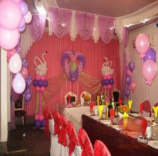 Украшение стола и большого зала воздушными шарами (ШДМ) аэродизайн, оформление воздушными шарами